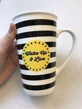 Ciroa Tall Coffee Mug Wake Up & Live New Bone China Large Tea Cup Pencil Desk