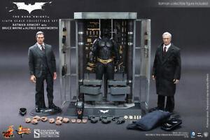 Hot Toys Batman Armory w/ Bruce Wayne & Alfred 1/6 Figure Dark Knight New MMS236
