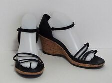 Teva Riviera Black Leather Wedge Strappy Sandals Ankle Strap Women's 11.5 US EUC