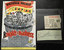 More details for 1950 bud flanagan autograph & theatre programme 'knights of madness' & ticket