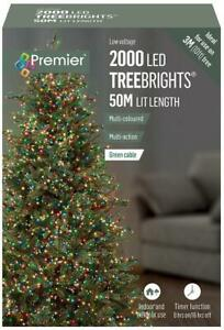 2000 LED Multi-Coloured Xmas Tree Lights with Timer, 55m