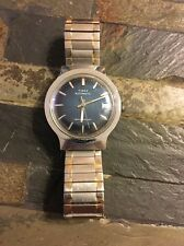 TIMEX WATCH MENS VINTAGE AUTOMATIC CALENDAR 1979 HTF BLUE DIAL