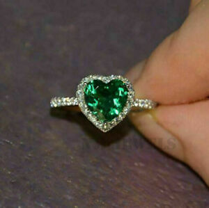 2.00 Ct Heart Cut Green Emerald Halo Engagement Ring 14k White Gold Over Size 7