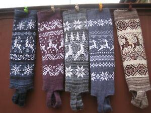 LEG WARMERS long KNEE HIGH homemade Russian 100% wool sheep yarn thick soft