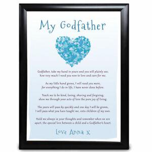 Personalised Birthday Godfather Gifts Christening Framed Present Heart Poem