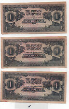 Japan occupation WWII Banknote 3 x 1 Dollars 1942 *MO* Dirty (1)