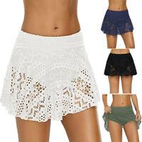 Women's Lace Crochet Skirted Bikini Bottom Swimsuit Short Skort Swim Skirt CO