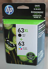 Genuine HP 63XL Black + 63 Tri-Color Combo-Pack Ink Cartridges New In Box!