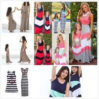 Mother And Daughter Matching Dress Casual Long Maxi Dress Beach Sundress Outfits
