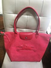 Longchamp Victoire Red Canvas Large Tote Le Plunge Bag Limited Edition
