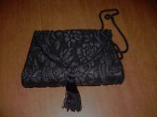 Black Beaded on Black Brocade Vtg Handbag or Shoulder Bag Small