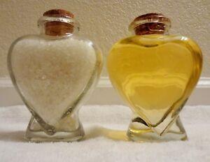 Handcrafted 6.5 oz each Vanilla Bath Soap and Salt Set in Heart Bottle