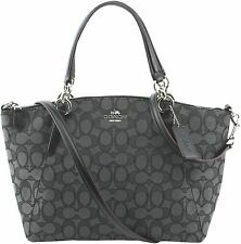 Coach Mini Kelsey Smoke Black Canvas Satchel Outline Bag F57830 F27580
