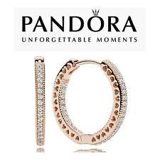 Genuine Pandora Rose Sparkle Hearts Of Pandora Hoop Earrings