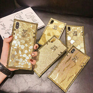Luxury Gold Geometric Square Phone Case For iPhone 12 Pro Max 11 XR XS 6 7 8 SE