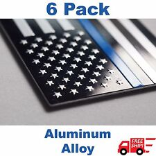 (6 PACK) Aluminum Police Officer Thin Blue Line American Flag Decal Sticker