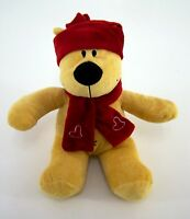 Kuscheltier Plüschtier Teddy gelb rote Mütze & Schal sitzend