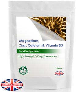 Calcium, Magnesium, Zinc & Vitamin D3 - 30/60/90/120/180, 500mg Tablets, UK Made