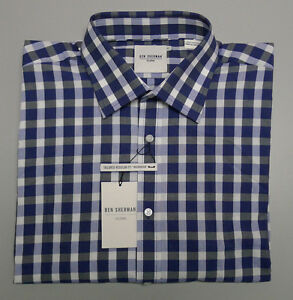 Ben Sherman WESTMINSTER Size 39 Blue White Check Long Sleeve Tailored Shirt $90