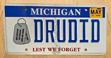 """VETERAN DOG TAGS  GRAPHIC VANITY LICENSE PLATE """" DRU DID """" DREW SERVED FOUGHT"""