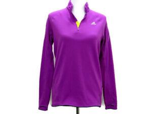 Adidas Womens ClimaWarm 1/2 Zip Pullover Hoodie Size Medium Purple Running