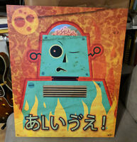 Vintage Styled Robot 16x20 Canvas Art Print Lowbrow Kawaii Creepy Cute