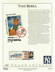 Goodman's Art Cachet New York Yankee Great Yogi Berra Souvenir Page