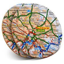 2 x Coasters - Leeds Yorkshire England Travel UK GB Map  #45531