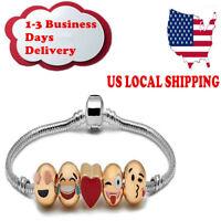 Emoji Charm Bracelet 18K Yellow Gold Plated Beads - 5 Charms US Ship Xmas Gift