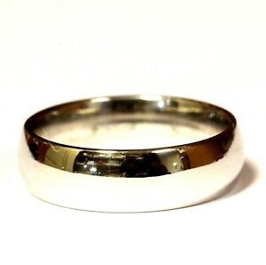 10k white gold mens solid wedding band ring 6.5g gents 6mm comfort fit 9