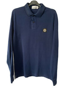 Stone Island Long Sleeve Blue Polo Rugby Shirt Cotton Slim Fit Men L