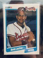 1990 Fleer Dave Justice Rookie ATLANTA BRAVES BASEBALL CARD #586