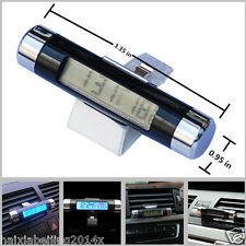 Car Thermometer Celsius Clock Backlight Air Vent Clip-on Digital LED Backlight