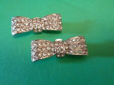 Vintage Signed BLUETTE Made in France Rhinestone Beaded Bow  Shoe Clips