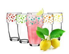 6 Stapelbare Trinkgläser 300ml Kaffeegläser Saftgläser Wasserglas Mix gepunktet