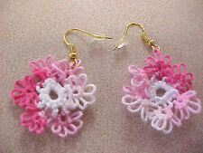 Dove Country TATTED Earrings Variegated Pink White Spring Flowers Tatting