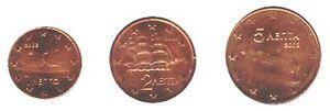 Greece 2002 - Mini Set of 3 Euro Coins (UNC) **NEW**