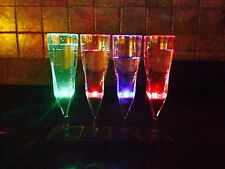 LED Light Up Wine Glasses! Set Of 4-Liquid Activated-Multi-Color HAPPY NEW YEAR!