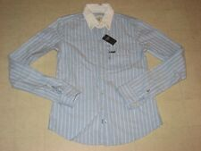 Abercrombie & Fitch Polo Long Sleeve Stripes Blue/White For Women  XS  - NWT $68