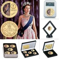 Queen Elizabeth Royal Family Commemorative 5pcs Gold Plated Coins with Set Box
