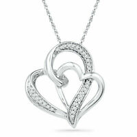 Double Heart Love Notes Pendant 14k White Gold Over in 925 Sterling Silver
