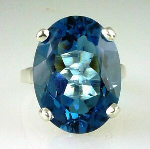 Very Large Beautiful Rare Natural Oval London Blue Topaz Ring, 10k White Gold