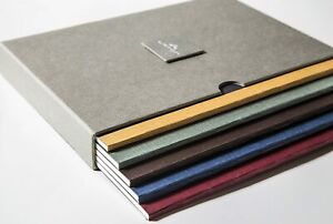 Pack of 5 Large Premium Notebook Set in a Grey Book, each different style