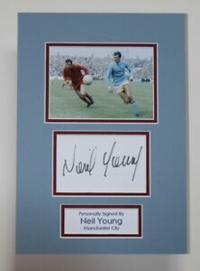 NEIL YOUNG Manchester City HAND SIGNED A4 Autograph Photo Mount Display + COA