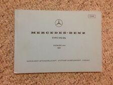 1959 Mercedes Benz 190Db 190 Db Parts Catalog Manual W121 Chassis OM621 Diesel