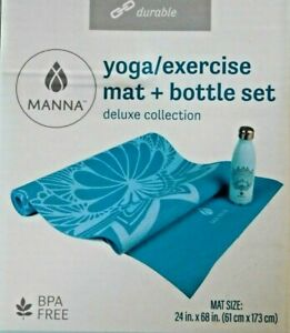 Manna Yoga Exercise Mat Bottle Stainless Steel Set Deluxe Collection Aqua Blue