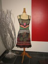 ELEGANTE ROBE SOIE BRODée SILK EMBROIDERED DRESS SAVE THE QUEEN T L 38 40 UK 12