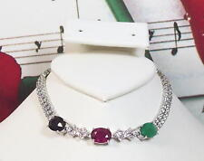 Natural Gemstones & Cubic Zirconia With 925 Sterling Silver Bracelet. SS0027