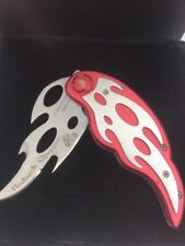 Redneck Chopper Knife Tactical Folder Frost Cutlery Red Silver Russ Farrell A
