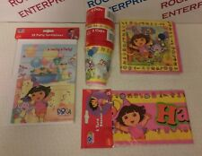 DORA THE EXPLORER Birthday Party for 16 - Banner/Serviettes/Cups/Invitations